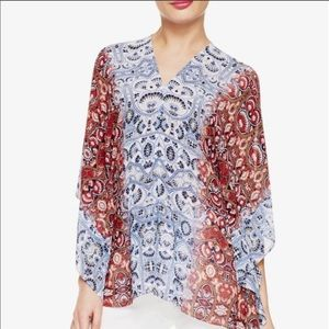 Two by Vince Camuto Moroccan Paisley Poncho L/XL
